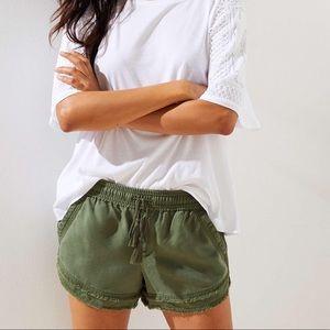 Loft Green Frayed Drawstring Shorts XXS